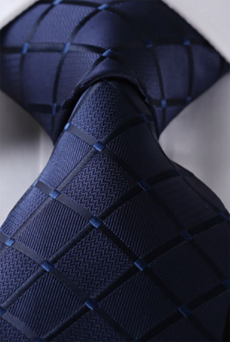 Blue tie with square embossed blue
