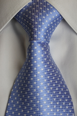 Sky blue tie with white spots