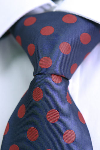 Red blue polka dot tie
